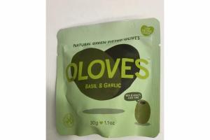 BASIL & GARLIC NATURAL GREEN PITTED OLIVES