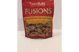FUSIONS BANGKOK BACKPACK BLEND CANDIED GINGER CASHEWS + CHILI LIME CRRRUNCHBITES ALMONDS + DICED PINEAPPLE + TOASTED COCONUT CHIPS