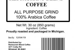 ALL PURPOSE GRIND RESTAURANT BLEND 100% ARABICA COFFEE