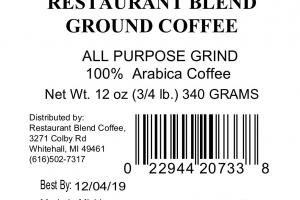 RESTAURANT BLEND 100% ARABICA GROUND COFFEE