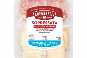 SOPRESSATA UNCURED ITALIAN SALAMI WITH MONTEREY JACK CHEESE & CRACKERS ARTISAN CHARCUTERIE SNACK