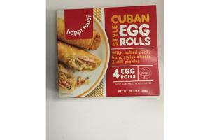 CUBAN STYLE EGG ROLLS WITH PULLED PORK, HAM, SWISS CHEESE & DILL PICKLES