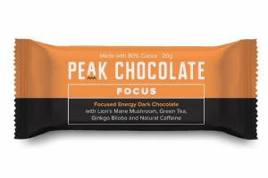 FOCUSED ENERGY DARK CHOCOLATE WITH LION'S MANE MUSHROOM, GREEN TEA, GINKGO BILOBA AND NATURAL CAFFEINE