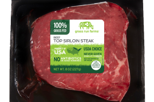 100% GRASS FED BEEF TOP SIRLOIN STEAK