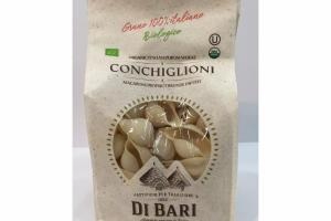 ORGANIC ITALIAN DURUM WHEAT CONCHIGLIONI, MACARONI PRODUCT BRONZE DIE CUT