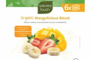 MANGOLICIOUS BLEND INDIVIDUALLY QUICK FROZEN MANGO CHUNKS, SLICED BANANAS & SLICED STRAWBERRIES