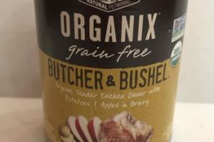 GRAIN FREE BUTCHER & BUSHEL ORGANIC TENDER CHICKEN DINNER WITH POTATOES & APPLES IN GRAVY ADULT ALL BREEDS DOG FOOD