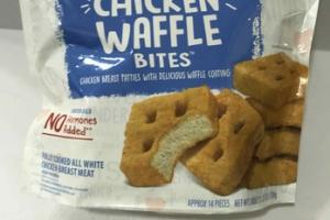 FULLY COOKED ORIGINAL CHICKEN WAFFLE BITES CHICKEN BREAST PATTIES WITH DELICIOUS WAFFLE COATING