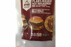 PLANT-BASED MEAT REPLACEMENT MIX INFUSED WITH MERLOT GRAPE SEED FLOUR HELLO MERLOT MADE WITH ORGANIC, SPROUTED MUNG BEANS