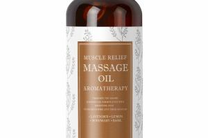 MUSCLE RELIEF MASSAGE OIL AROMATHERAPY, LAVENDER, LEMON, ROSEMARY, BASIL