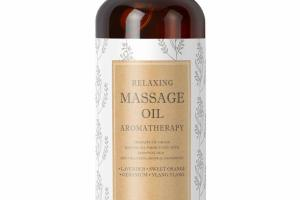 RELAXING MASSAGE OIL AROMATHERAPY, LAVENDER, SWEET ORANGE, GERANIUM, YLANG YLANG