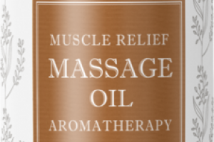 AROMATHERAPY MUSCLE RELIEF MASSAGE OIL, LAVENDER, LEMON, ROSEMARY, BASIL