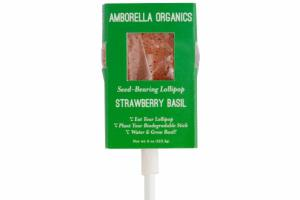STRAWBERRY BASIL SEED-BEARING LOLLIPOP