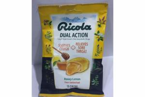 HONEY LEMON DUAL ACTION SOOTHES COUGH + RELIEVES SORE THROAT COUGH SUPPRESSANT