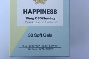 HAPPINESS FULL SPECTRUM HEMP EXTRACT DIETARY SUPPLEMENT SOFT GELS
