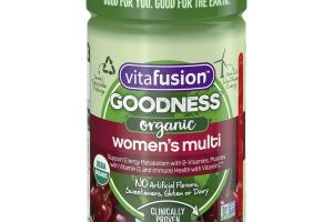 ORGANIC WOMEN'S MULTI SUPPORT ENERGY METABOLISM WITH B-VITAMINS, MUSCLES WITH VITAMIN D, AND IMMUNE HEALTH WITH VITAMIN C DIETARY SUPPLEMENT GUMMIES, WILD CHERRY