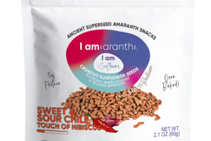 SWEET & SOUR CHILE TOUCH OF HIBISCUS CRUNCHY SUNFLOWER SEEDS COVERED IN TOASTED AMARANTH.