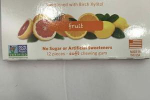 FRUIT SWEETENED WITH BIRCH XYLITOL SOFT CHEWING GUM