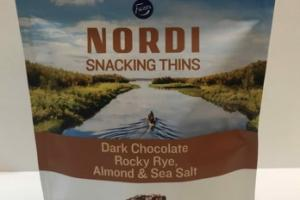 DARK CHOCOLATE ROCKY RYE, ALMOND & SEA SALT SNACKING THINS