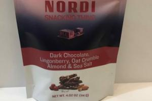 DARK CHOCOLATE, LINGONBERRY, OAT CRUMBLE ALMOND & SEA SALT NORDI SNACKING THINS