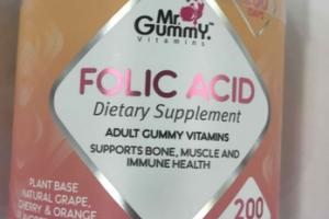 FOLIC ACID SUPPORTS BONE, MUSCLE AND IMMUNE HEALTH ADULT GUMMY VITAMINS DIETARY SUPPLEMENT GUMMIES, NATURAL GRAPE CHERRY & ORANGE