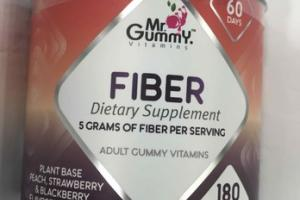 FIBER ADULT GUMMY VITAMINS DIETARY SUPPLEMENT, PEACH, STRAWBERRY & BLACKBERRY