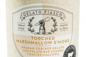 TORCHED MARSHMALLOW S'MORE GRAHAM CRACKER GELATO CHOCOLATE BAR CHUNKS TOASTED MALLOWS