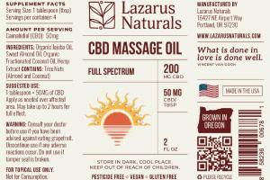 FULL SPECTRUM 50 MG CBD/TBSP MASSAGE OIL