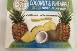 TROPICAL COCONUT & PINEAPPLE 100% DRIED FRUIT BAR