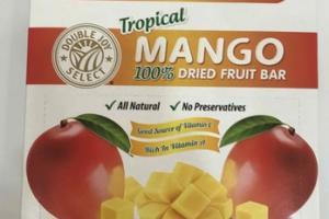 100% TROPICAL MANGO DRIED FRUIT BAR