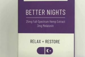 25 MG FULL-SPECTRUM HEMP EXTRACT 3MG MELATONIN BETTER NIGHTS DIETARY SUPPLEMENT CAPSULES