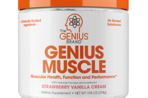 ENIUS MUSCLE MUSCULAR HEALTH, FUNCTION AND PERFORMANCE DIETARY SUPPLEMENT, STRAWBERRY VANILLA CREAM