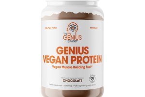 GENIUS VEGAN PROTEIN VEGAN MUSCLE BUILDING FUEL DIETARY SUPPLEMENT, CHOCOLATE