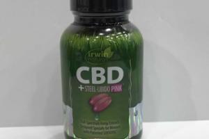 CBD + STEEL-LIBIDO PINK FULL-SPECTRUM HEMP EXTRACT. DIETARY SUPPLEMENT LIQUID SOFT-GELS
