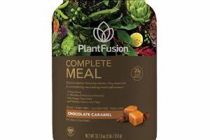 A FUSION OF PLANT-BASED PROTEINS + KEY ESSENTIALS FOR A COMPLETELY NOURISHING MEAL REPLACEMENT, CHOCOLATE CARAMEL