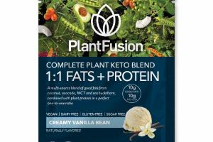 CREAMY VANILLA BEAN COMPLETE PLANT KETO BLEND 1:1 FATS + PROTEIN DIETARY SUPPLEMENT