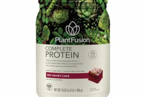 A FUSION OF THE WORLD'S BEST PLANT-BASED PROTEIN SOURCES THAT DELIVERS UNCOMPROMISED TASTE, TEXTURE, POTENCY AND DIGESTIBILITY DIETARY SUPPLEMENT, RED VELVET CAKE