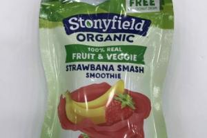 NO ADDED SUGAR ORGANIC 100% REAL FRUIT & VEGGIE STRAWBANA SMASH SMOOTHIE