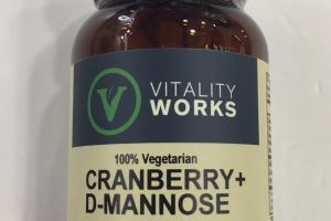 100% Vegetarian Cranberry + D-mannose Dietary Supplement