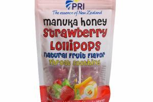 MANUKA HONEY STRAWBERRY LOLLIPOPS NATURAL FRUIT FLAVOR THROAT SOOTHING