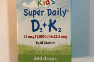 KID'S SUPER DAILY D3 + K2 LIQUID VITAMINS DIETARY SUPPLEMENT DROPS
