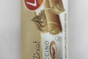 ROLLED WAFER FILLED WITH CAPPUCCINO FLAVORED ROLL BREAK CREAM