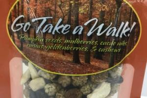 GO TAKE A WALK! PUMPKIN SEEDS, MULBERRIES, CACAO NIBS, RAISINS, GOLDENBERRIES, & CASHEWS TRAIL MIX