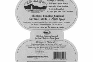 SKINLESS, BONELESS SMOKED SARDINE FILLETS IN MAPLE SYRUP