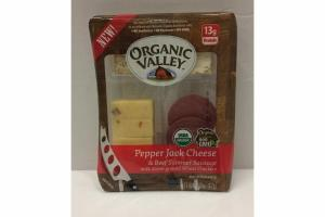 PEPPER JACK CHEESE & BEEF SUMMER SAUSAGE WITH STONE-GROUND WHEAT CRACKERS