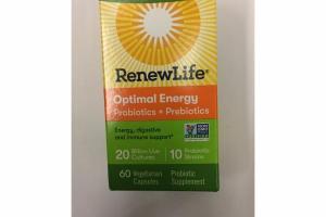 OPTIMAL ENERGY PROBIOTIC SUPPLEMENT VEGETARIAN CAPSULES