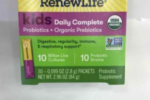KIDS DAILY COMPLETE PROBIOTICS + ORGANIC PREBIOTICS SUPPLEMENT