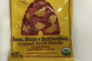 STRAWBERRY, RASPBERRY & APPLE BEES, BUGS & BUTTERFLIES ORGANIC FRUIT SNACKS