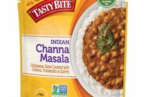 MILD INDIAN CHANNA MASALA CHICKPEAS SLOW COOKED WITH ONIONS, TOMATOES & SPICES