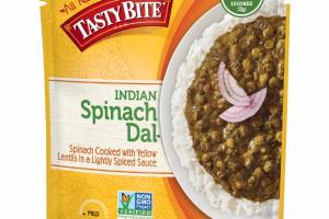 INDIAN SPINACH DAL COOKED WITH YELLOW LENTILS IN A LIGHTLY SPICED SAUCE